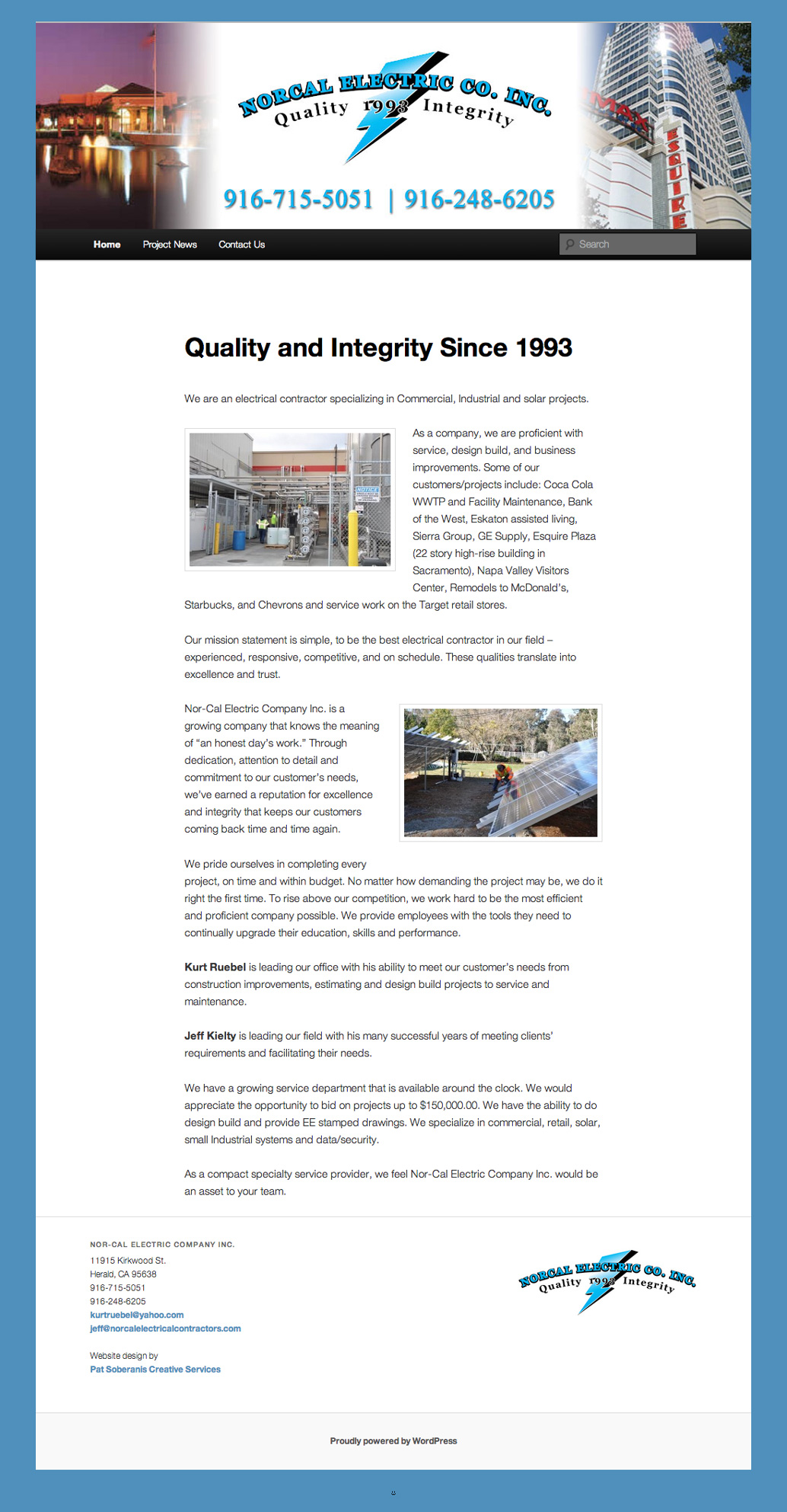 NorCal Electric Co. Website Full Page