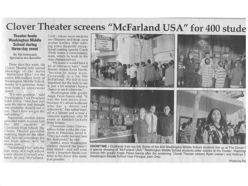 scan of article in Cloverdale Reveille newspaper